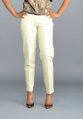 Cream Leather Pants