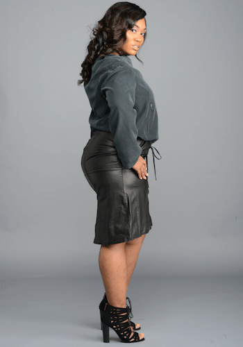 Curve Leather Skirt