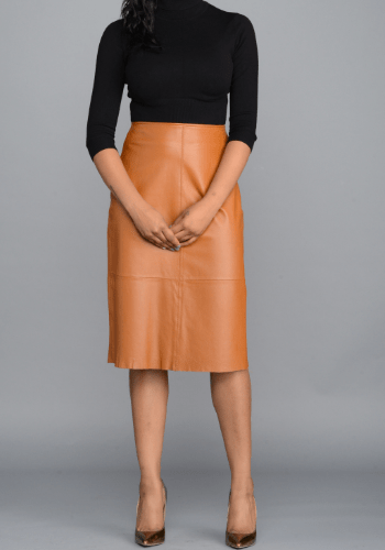Cognac Leather Skirt