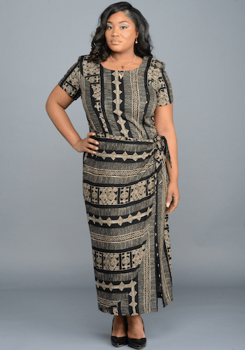 Aztec Print Wrap Dress