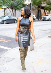 The Textured Leather Skirt