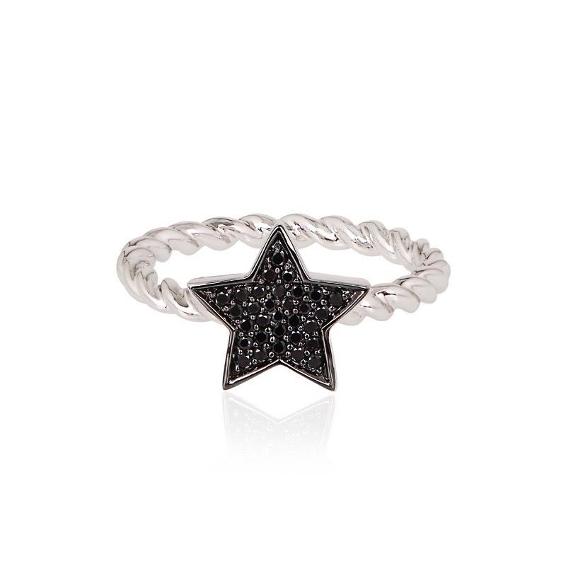 STASIA Single Star Braided Black Diamond Ring