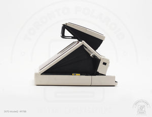 Polaroid SX70 Model 2 [White, Reskined] #9788 [Film Tested, 6 Months Warranty]