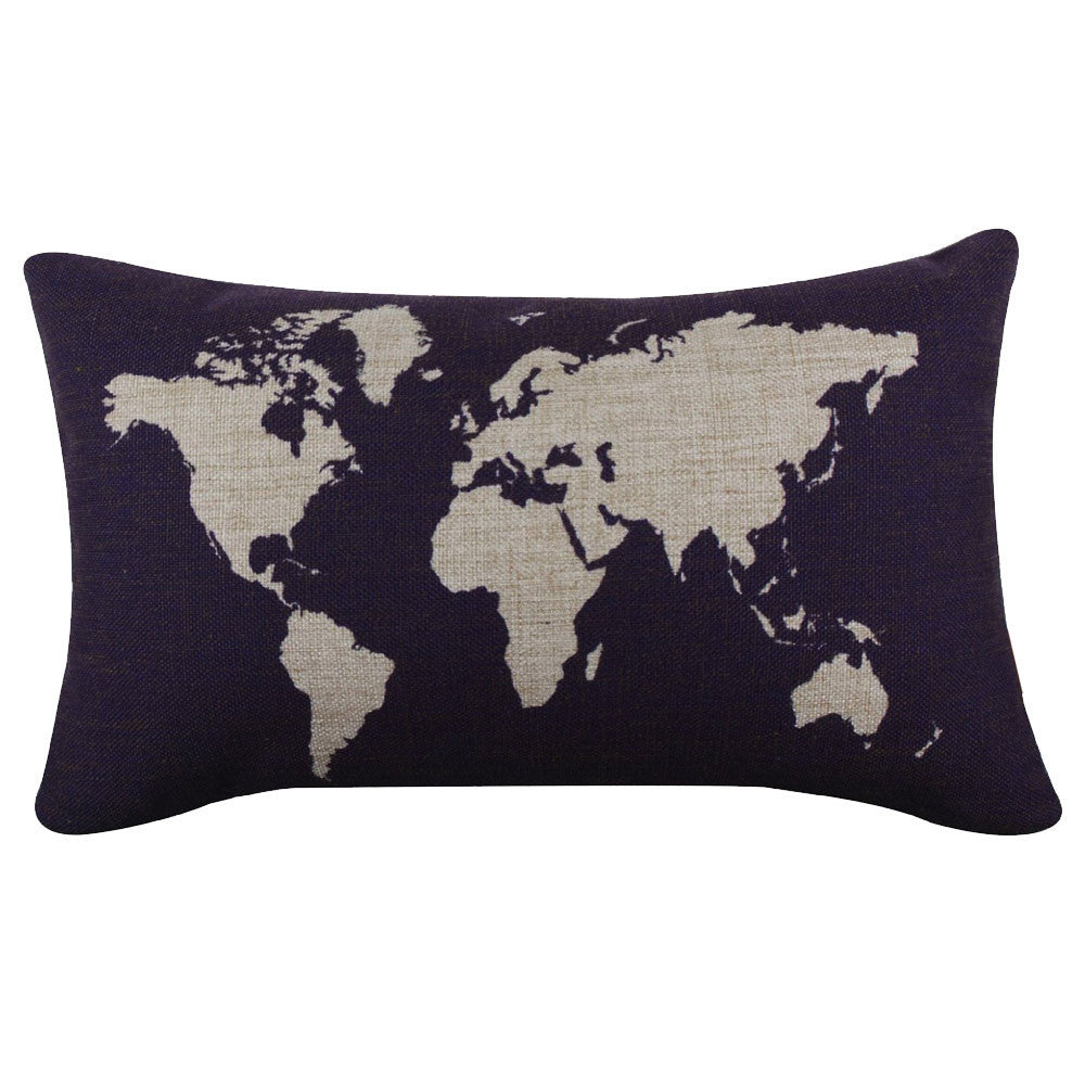 World Map Burlap Pillow  Cover