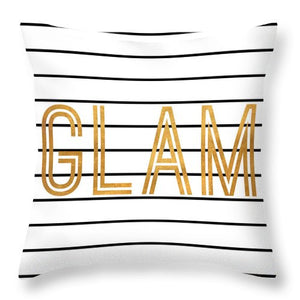 Glam Pinstripe Gold Throw Pillow