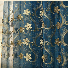 Embroidered Pearl Flower Blue Tulle Drapes