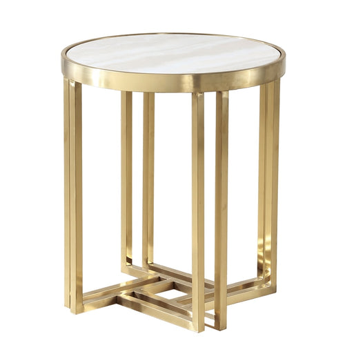 Clemencia round marble edge side  table