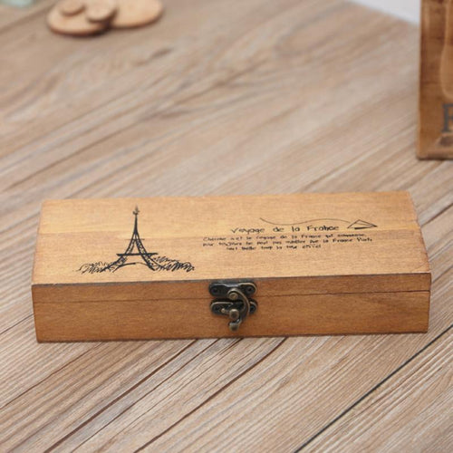 Retro Paris  Wood  Pencil Case