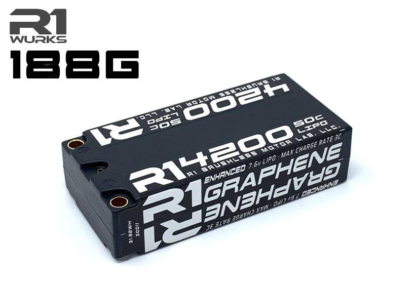 R1 4200mAh 50C 7.6V 2S LiHV Enhanced GRAPHENE SHORTY BATTERY