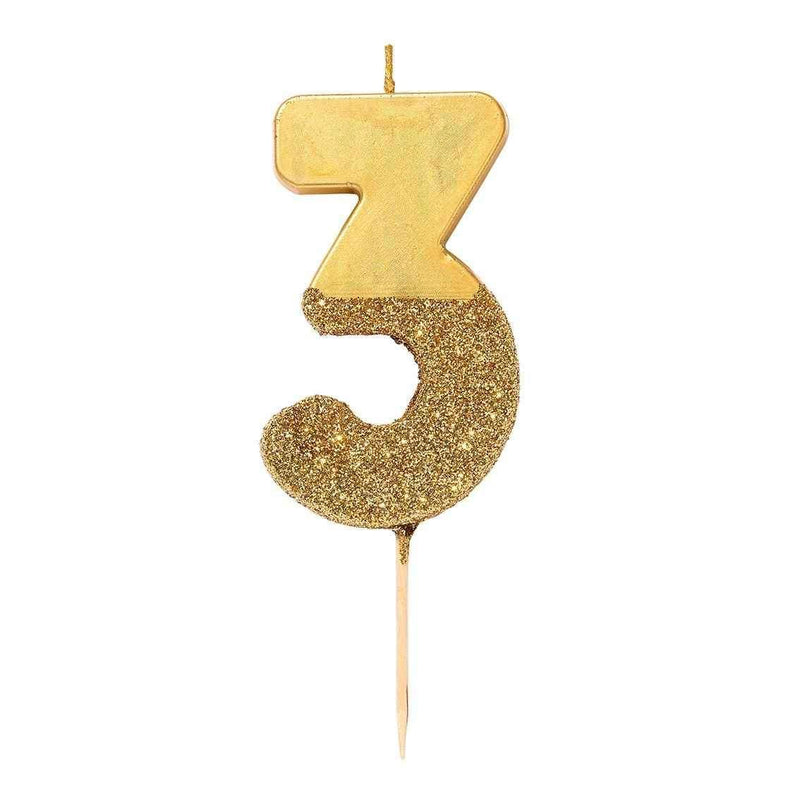 We Heart Birthdays Gold Glitter Number Candle 1-0