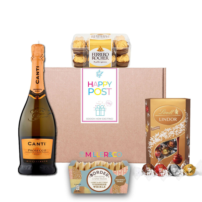 Prosecco & Chocolate Hamper Gift Basket For The Perfect Christmas Gift for Women, Men, Couples, Families