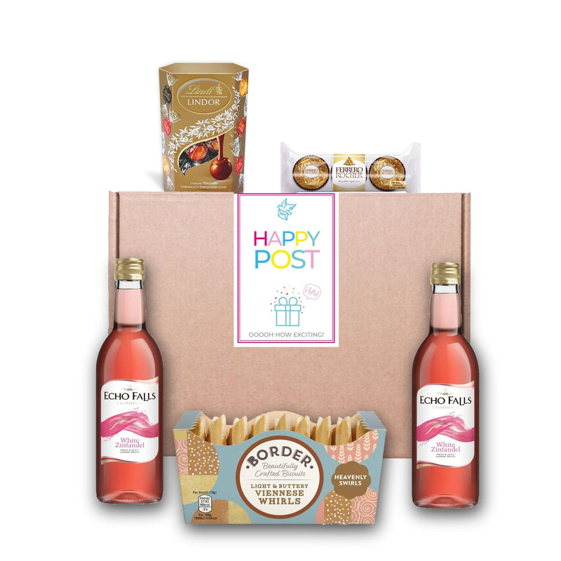 Rose Wine & Chocolate Hamper Gourmet Gift Basket For Women, Men, Couples