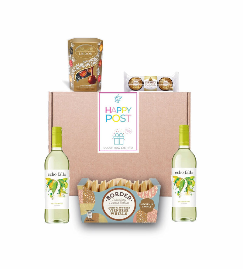 White Wine & Chocolate Hamper Gourmet Gift Basket For Women, Men, Couples
