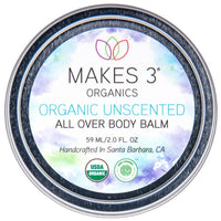 Unscented All Over Body Balm-Bath & Body-Makes 3 Organics-Mason Pearl Beauty