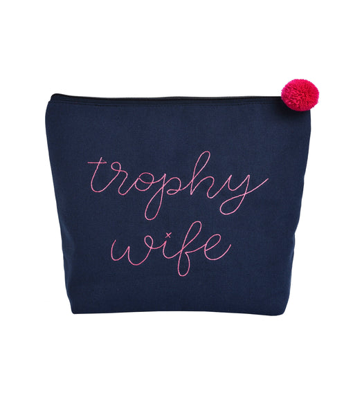 Large Cotton Navy Trophy Wife Cosmetic Bag-Gifts & Jewelry-Ever Ellis-Mason Pearl Beauty