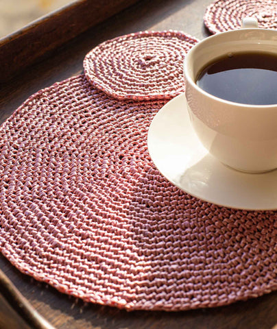 Crocheted Placemats & Coasters Using Wool and the Gang Ra-Ra Raffia