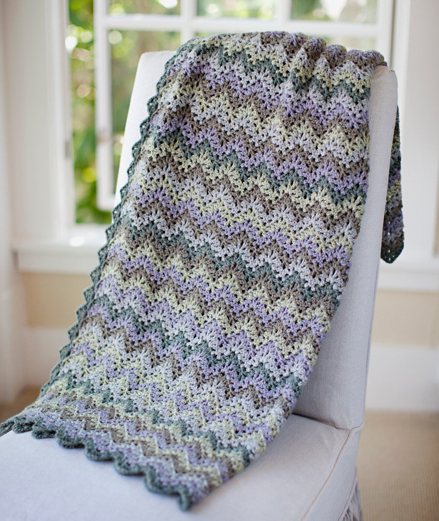 Vintage Crocheted Throw Afghan In 5 Or 7 Colors Pattern