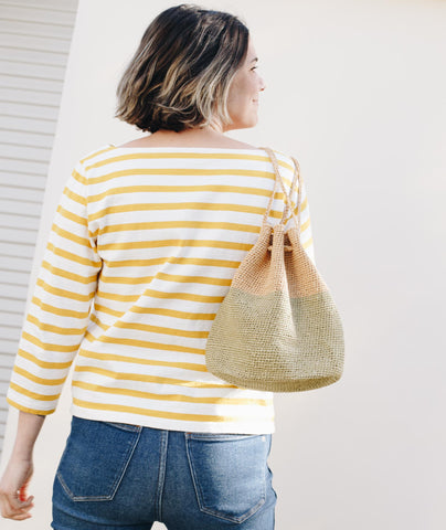 Oval Crocheted Bucket Bag Using Wool and the Gang Ra-Ra Raffia