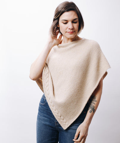 Easy Folded Poncho with Cable Border Using Blue Sky Fibers Baby Alpaca