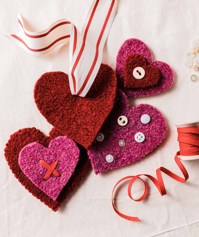 Felted Heart Ornaments Using Brown Sheep Lamb's Pride Worsted