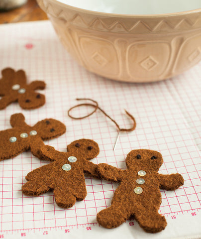 Felted Gingerbread Ornaments Using Brown Sheep Lamb's Pride