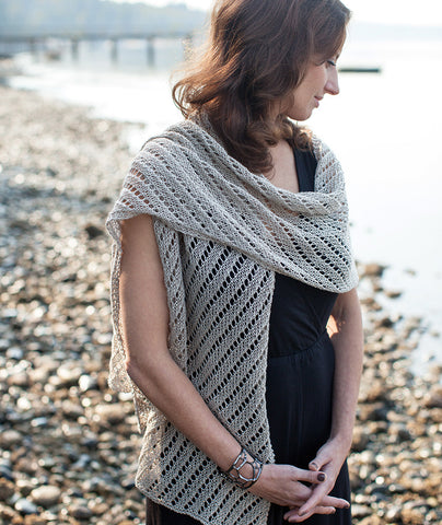 Diagonal Lace Wrap Using Louet Euroflax Sport