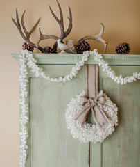 Woolly Wreath & Garland Project Using Fleece Artist Slubby Blue