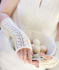 Lace-Back Fingerless Gloves (with 3 lace charts) Pattern