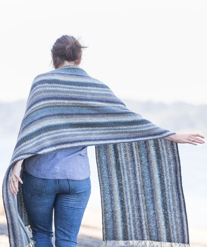 Striped Linen Stitch Wrap Using Rowan Felted Tweed