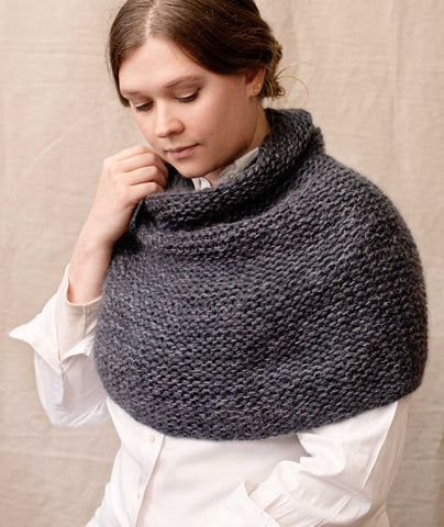 Shoulder Cozy with Cowl Using Rowan Merino Aria and Kidsilk Haze