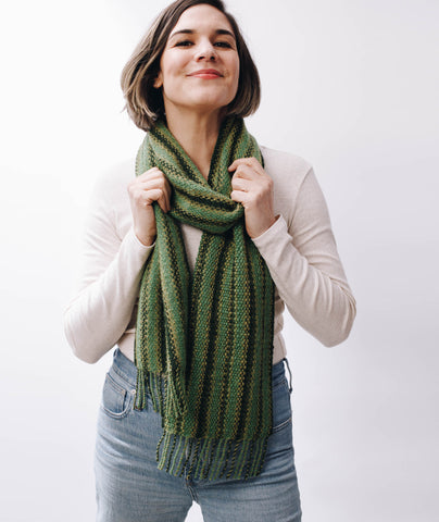 Striped Linen Stitch Scarf Using Rowan Moordale