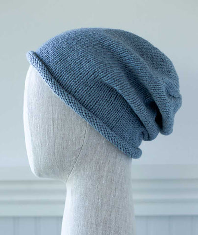 Basic Slouch Beanie Using Rowan Cotton Cashmere