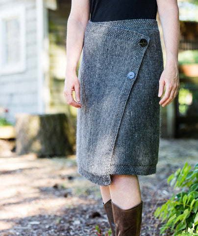 Buttoned Wrap Skirt Using Brown Sheep Lamb's Pride