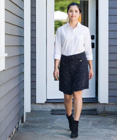 Buttoned Wrap Skirt Using Tahki Donegal Tweed