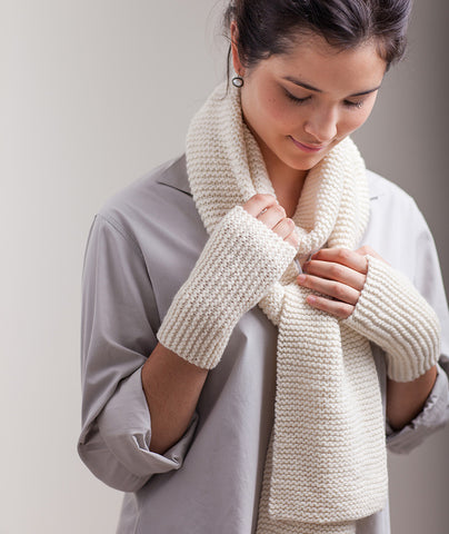 Garter-Stitch Scarf & Sideways Handwarmers Using Manos Maxima