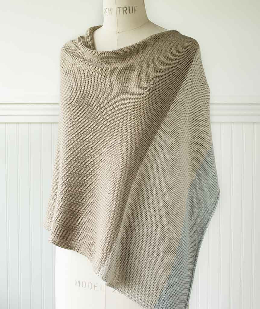 Easy Folded Poncho Colorblocked Using Berroco Modern Cotton ...