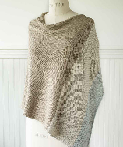 Easy Folded Poncho Colorblocked Using Berroco Modern Cotton