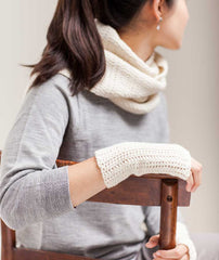 Crocheted Sampler Scarf & Handwarmers Using Manos Maxima
