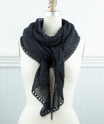 Demi Lune Scarf Using Shibui Tweed Silk Cloud