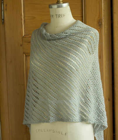 Diagonal Lace Poncho Using Louet Euroflax