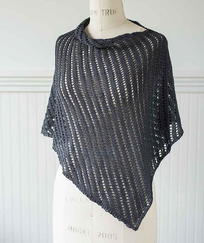 Diagonal Lace Poncho Using Shibui Rain