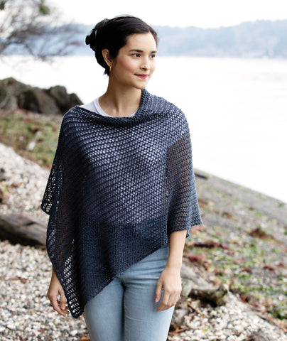 Easy Eyelet Poncho Using Rowan Creative Linen