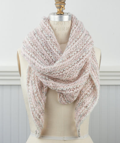 Easy Three-Yarn Striped Triangle Scarf