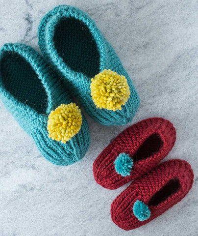 Family Slippers Using Brown Sheep Lamb's Pride Worsted
