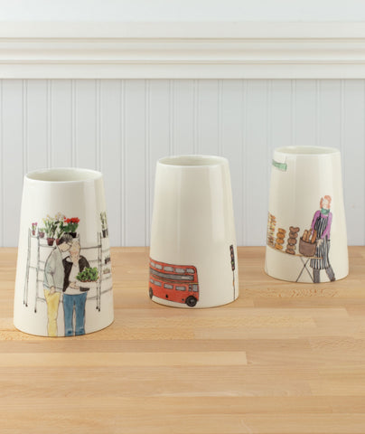 Helen Beard Illustrated Ceramic Vases