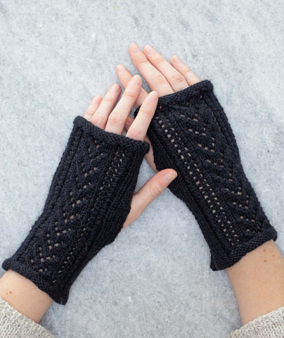Lace-Back Fingerless Gloves Using Rowan Alpaca Soft DK