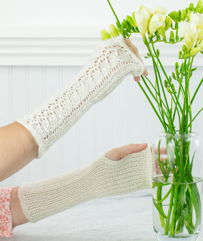 Lace-Back Fingerless Gloves Using Blue Sky Fibers Alpaca Silk