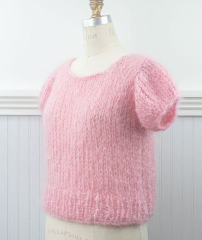 Mohair Puff Sleeve Top Using Loopy Mango Mohair So Soft