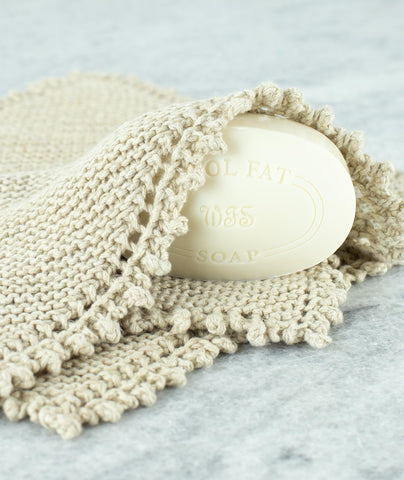 Picot Edge Washcloth Using Rowan Creative Linen