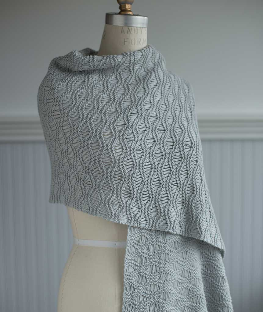 Seafoam Scarf and Wrap in lovely gray cotton blend yarn.